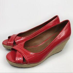 Franco Sarto Cheria Red Natural Fiber Wedge Heel